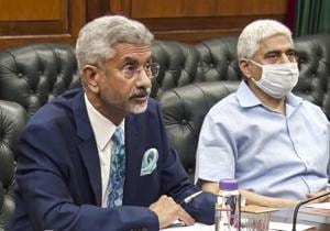 External Affairs Minister S Jaishankar during an extraordinary meeting of the Foreign Ministers of the eight members Shanghai Cooperation Organisation (SCO), to discuss cooperation to fight against the deadly coronavirus.(@DrSJaishankar/Twitter)