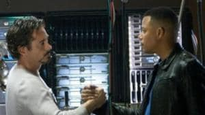 Robert Downey Jr and Terrence Howard in a still from Iron Man.