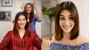 Kriti Sanon gets a haircut from sister Nupur Sanon.