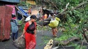 The cyclonic storm, which triggered heavy rains and accompanied high-velocity winds gusting up to 190 kmph in coastal areas, made a landfall in the Sunderbans in West Bengal on Wednesday evening.(PTI)