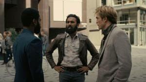 John David Washington, Himesh Patel and Robert Pattinson in a still from the Tenet trailer.