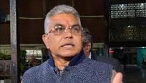 West Bengal BJP delegation led by State BJP President Dilip Ghosh's car was stopped by the police at Dhalai bridge near Garia area of the district.(PTI)
