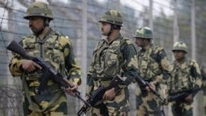 Jammu: Border Security Force (BSF) patrol near the international border at Hiranagar sector in Jammu, Thursday, Dec. 12, 2019. The Pakistan Army resorted to shelling of mortars and small arms from across the Line of Control (LOC) and the International Border (IB) in Poonch, Baramulla and Kathua districts of Jammu and Kashmir, injuring two people. (PTI Photo) (PTI12_12_2019_000189A)(PTI)