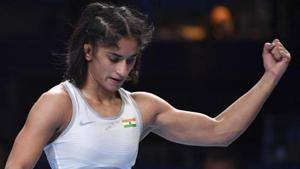 Vinesh Phogat of India reacts as she won the bronze match of the women's 53kg category against Maria Prevolaraki of Greece during the Wrestling World Championships in Nur-Sultan, Kazakhstan, Wednesday, Sept. 18, 2019.(AP)