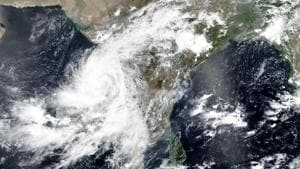 This June 2 satellite image released by NASA shows Cyclone Nisarga roaring toward the western coast of India.(AP Photo)