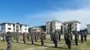 In the video, a group of men dressed in combat uniform standing in a row in an open field are seen taking oath in Hindi by raising hands to boycott Chinese products. (Videograb)