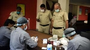 At present, 30 personnel — mostly deployed at borders and containment zones — have tested positive for Covid-19 in Gurugram.(Parveen Kumar/HT file photo)