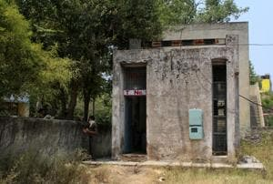 A view of the waterworks at Balongi village in Mohali where the leaking cylinder was kept.(Gurminder Singh/HT)