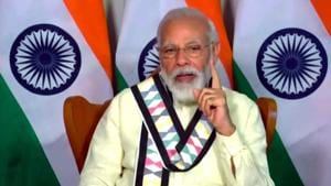 Prime Minister Narendra Modi addressing on 95th Annual Day of Indian Chamber of Commerce via video conferencing in New Delhi on Thursday.(ANI Photo)