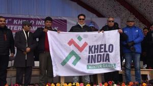 Union Minister for Sports and Youth Affairs Kiran Rijiju during winter sport program Khelo India.(Waseem Andrabi / Hindustan Times)