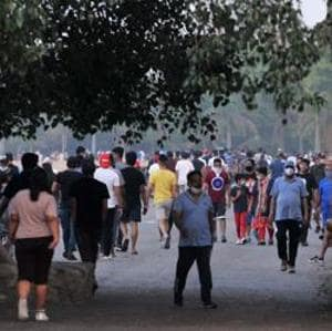 Walkers at Sukhna Lake after lockdown restrictions following the Covid-19 outbreak were eased.(HT photo)