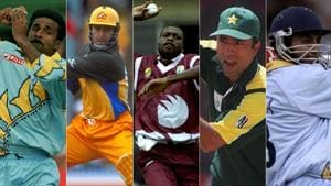 (L to R): Javagal Srinath, Michael Bevan, Curtly Ambrose, Saeed Anwar and Ajay Jadeja are some of the entires.(HT Collage)