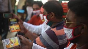 The BJP was among the first parties to understand the power of social media and it is no surprise that it has now become the first party to innovate with mass e-rallies(Samir Jana / Hindustan Times)