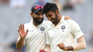 Mohammed Shami and Jasprit Bumrah chat during day four of the Third Test match in the series between Australia and India at Melbourne Cricket Ground.(Getty Images)