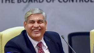 Newly elected BCCI President Shashank Manohar is seen at a press conference in Mumbai.(PTI)