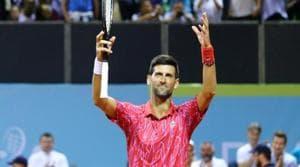 Serbia's Novak Djokovic celebrates after his match against Croatia's Borna Coric.(REUTERS)