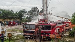 File photo: Image shows fire tenders at Baghjan Oil Field after an explosion in Tinsukia, Assam on May 27, 2020.(PTI)