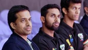 Pullela Gopichand along with HS Prannoy and Ajay Jayaram.(PTI)