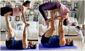 Gurmeet Chaudhary and Debina Bonnerjee synchronise well as they practised yoga.