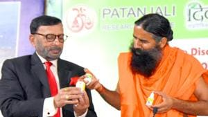 Baba Ramdev's claim of producing an Ayurvedic medicine kit to cure Covid-19 has run into trouble with authorities.(ANI Photo)