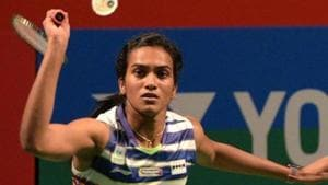 PV Sindhu of India in action against Mugdha Agrey of India during India Open 2019.(Mohd Zakir/HT PHOTO)