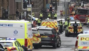 Emergency services attend the scene of an incident in Glasgow, Scotland, Friday June 26, 2020.(AP)