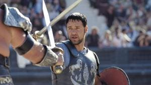 Russell Crowe in a still from Gladiator.