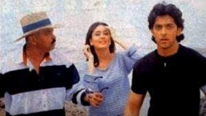 Kareena Kapoor Khan with Hrithik Roshan and Rakesh Roshan.