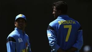 Sachin Tendulkar and Javagal Srinath during the 2003 World Cup in South Africa.(Getty Images)