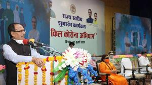 Madhya Pradesh Chief Minister Shivraj Singh Chouhan launches the statewide 'Kill Corona' campaign in Bhopal on Wednesday.(ANI)