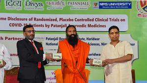 On Wednesday, Ramdev reaffirmed that Patanjali followed all legal procedures in carrying out clinical control trials of the drugs on Covid-19 positive patients.(PTI file photo)
