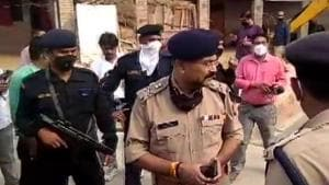 ADG Law and Order Prashant Kumar visits spot of encounter in Bikaru village where 8 police personnel lost their lives.(ANI)