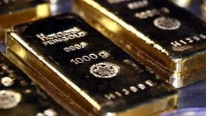 Gold prices fell by Rs 42 to Rs 48,964 per 10 gram in New Delhi on Monday(REUTERS)