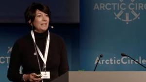 Ghislaine Maxwell speaks at the Arctic Circle Forum in Reykjavik, Iceland October 2013.(THE ARCTIC CIRCLE via REUTERS File Picture)