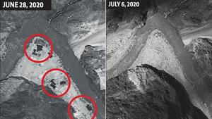 Satellite images from June 28 and July 6 released on Tuesday by Maxar, a US-based satellite imagery company, show the Chinese expansion at the Galwan Valley in eastern Ladakh has been removed as part of the disengagement procedure.(maxar/AP Photo)
