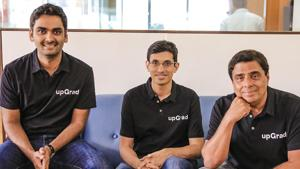 (L-R) Phalgun Kompalli, Co-Founder, Mayank Kumar, Co-Founder & MD, and Ronnie Screwvala, Executive Chairman & Co- Founder, upGrad(Business Wire India)