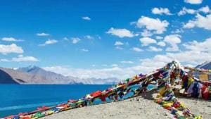 The Finger Area refers to a set of eight cliffs jutting out of the Sirijap range overlooking Pangong Tso. (HT photo)