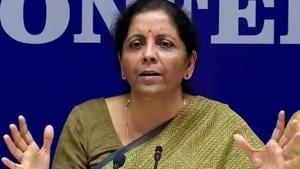 Union Finance Minister Nirmala Sitharaman addresses a press conference in New Delhi.(HT file photo)