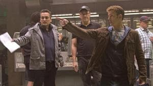 Directors Joe & Anthony Russo with Chris Evans (Captain America) on set of Captain America: The Winter Soldier.