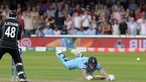 Ben Stokes takes the controversial run to save the day. File image.(AFP)