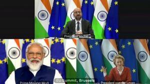Prime Minister Narendra Modi attends 15th India-EU (virtual) summit via video conferencing in New Delhi.(ANI)