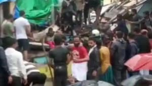 Two people were killed after a ground plus two-storey structure Chawl in Malvani area of(ANI/Twitter)