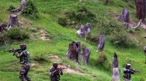 Army personnel take positions during an encounter with the terrorists in Keran Sector of Kupwara district of north Kashmir.(PTI File Photo)