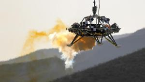 In this Thursday, Nov. 14, 2019 file photo, the China's Mars lander's hovering, obstacle avoidance and deceleration capabilities are tested at a facility at Huailai in China's Hebei province. China is expected to l launch its Mars rover and an orbiter sometime around July 23, 2020, in a mission named Tianwen, or Questions for Heaven.(AP File)