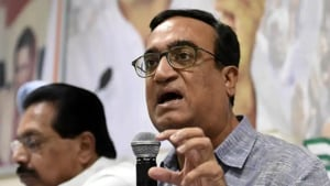 Senior Congress leader Ajay Maken shot five questions as well as the demand for Gajendra Singh Shekhawat's removal or resignation.(Sonu Mehta/HT PHOTO)