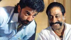 Sivaji Ganesan with Kamal Haasan in Thevar Magan.