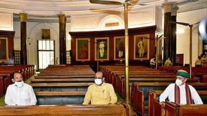 Rajya Sabha Chairman M Venkaiah Naidu (L), Lok Sabha Speaker Om Birla (C) and MoS Parliamentary Affairs Arjun Ram Meghwal at Central Hall of the Parliament House during the 68th anniversary of the first sitting of Rajya Sabha, in New Delhi.(Photo: PTI)