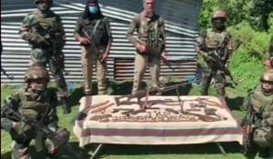 Chandan Kohli, Rajouri's senior superintendent of police, said the police received information about the suspected presence of an old terrorist hideout in Manyal.(ANI/Twitter)