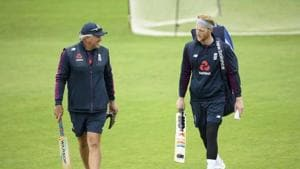 England cricket team captain Ben Stokes, right, speaks with coach Chris Silverwood during a nets session(AP)