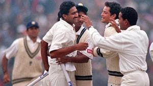 Anil Kumble picked up all 10 Pakistan wickets to help India to a series-levelling win in 1999.(AFP Image)
